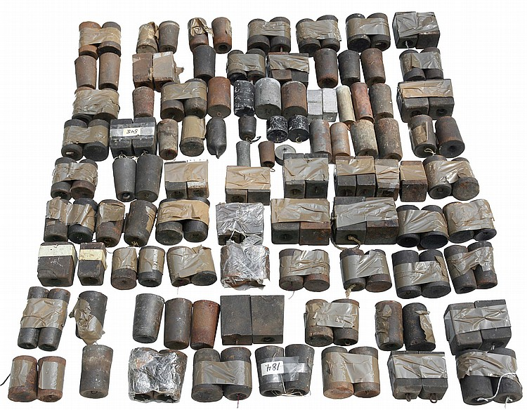 Lifetime collection of 30 hour and other assorted small weights including alarm, almost all are cast iron with a small selection of lead and other materials. There are several forms including standard cylindrical and rectangular, tapered pyramidal,