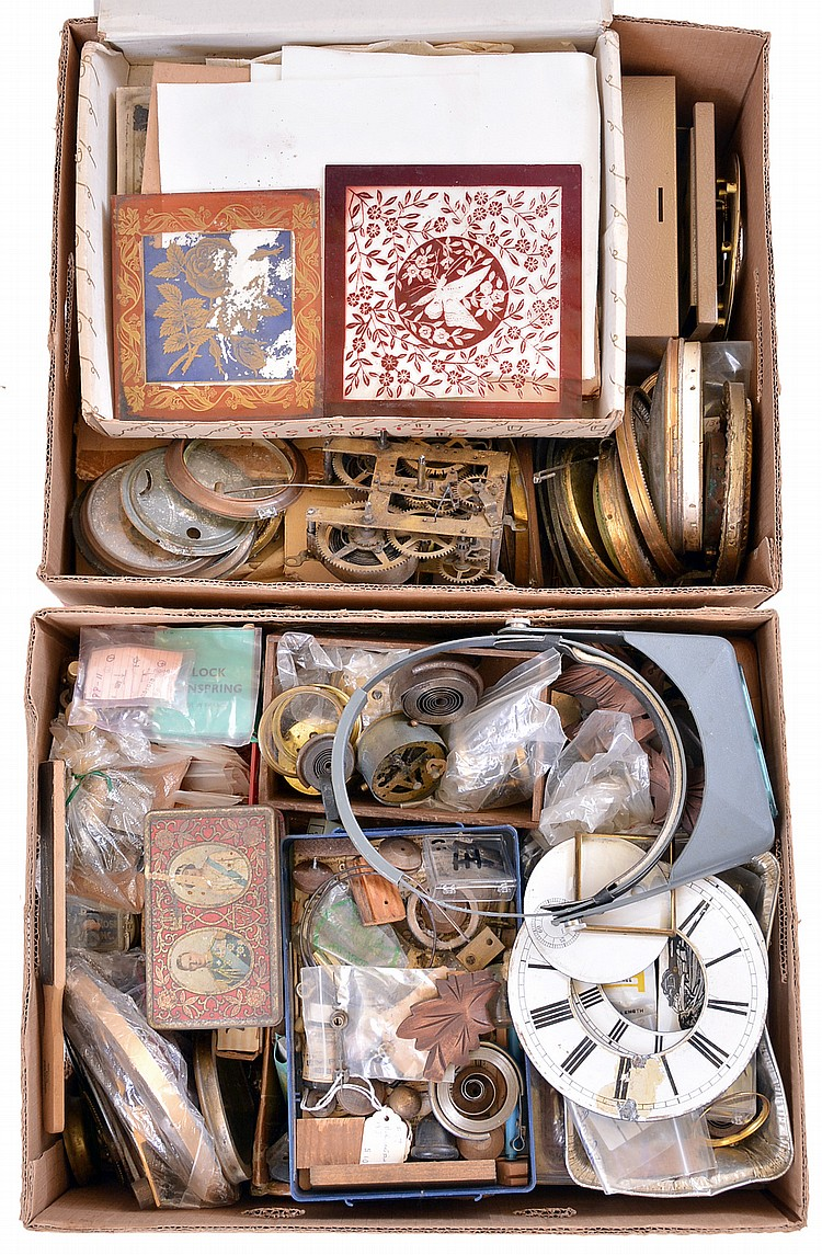 Huge collection of parts and material including tablets, pendulums, glasses, dials, bezels, pendulums, chime rods, clocks shelves, etc.