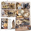 Huge collection of parts in 15 (Fifteen) banana boxes and material including, movements, mainsprings, wooden case parts, gongs, pendulums, pendulum sticks, plastic domes, clock cases, desk clocks and alarm clocks, etc.