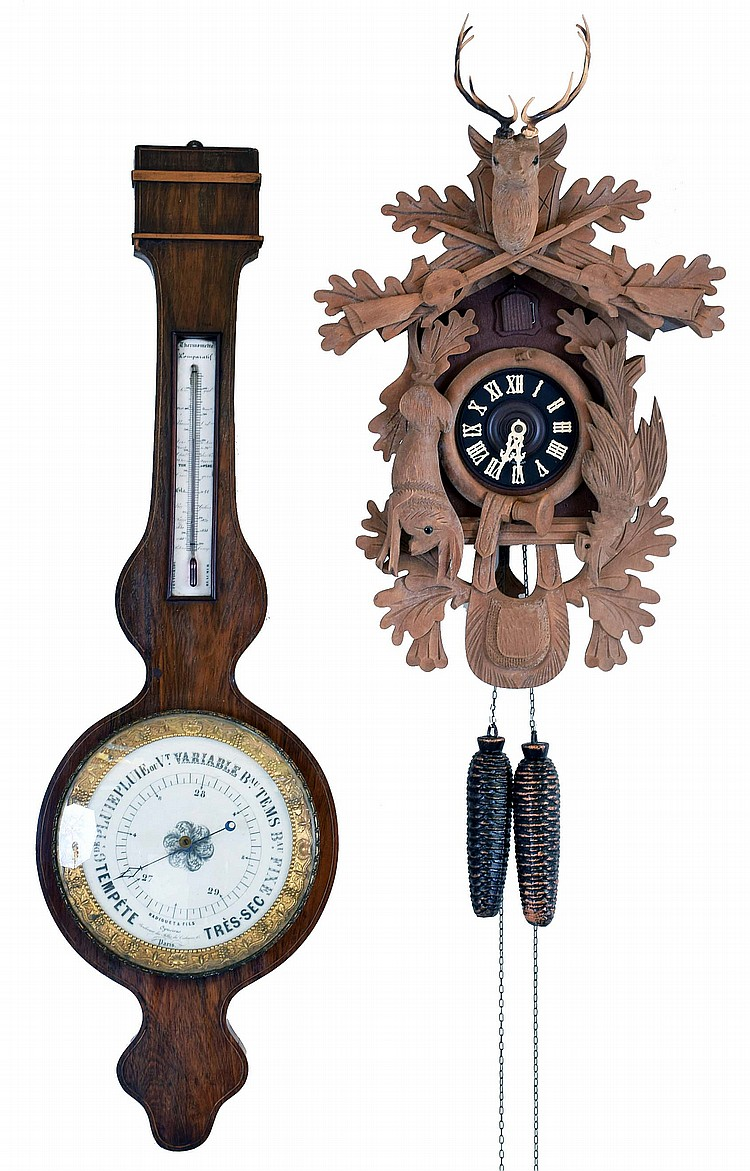 Clocks- 2 (Two): (1) French, Radiguet & Fils, Paris, wheel barometer, c1890 (2) German, 30 hour, time and strike weight brass movement cuckoo clock, c1970