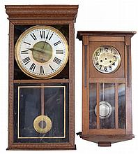 Clocks, Parts and Equipment- wide assortment of vintage, antique and new clocks, including Howard Miller wall clocks, a Sessions box wall regulator, German box clock, Sligh wall clock, Howard Miller Westminster chime wall clock, Seth Thomas coffee
