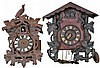 Clocks- 20 (Twenty) approximately; complete and partial antique and modern examples, two are cuckoo and quail