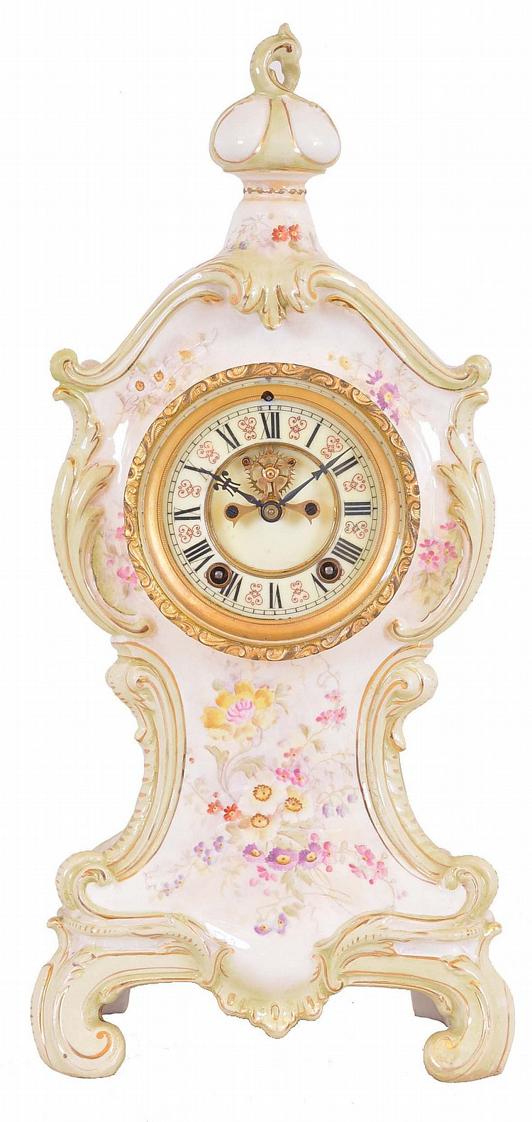 Ansonia Clock Co., New York, NY, 8 day, time and strike spring brass movement porcelain mantel clock.