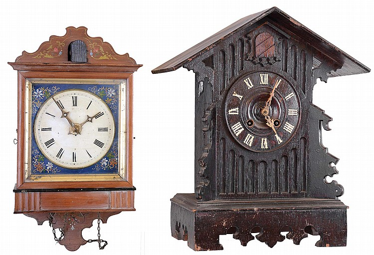 Clocks- 2 (Two) Cuckoo Black Forest German 30 hour: hanging weight driven model nearly identical to rare Biedermeier #4 shown on Justin Miller book page 36, likely by Ketterer, c1860; shelf model spring driven by Gordian Hettich Sohn (GHS), c, 1900
