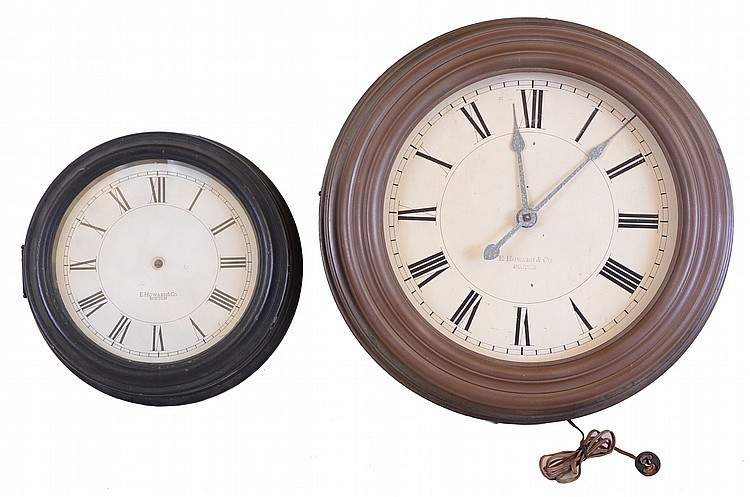 Clocks- 2 (Two) E Howard & Co., Boston, electric clocks: the first with 24 1/2 inch metal case, Roman numeral painted dial, signed nickel plated movement, the other a case only, 17 inch turned wooden case, and Roman numeral painted dial