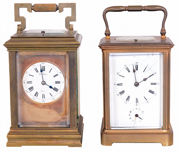Clocks- 2 (Two) French repeating carriage clocks, 8 day, time and strike; one with alarm and the other in Anglais case signed
