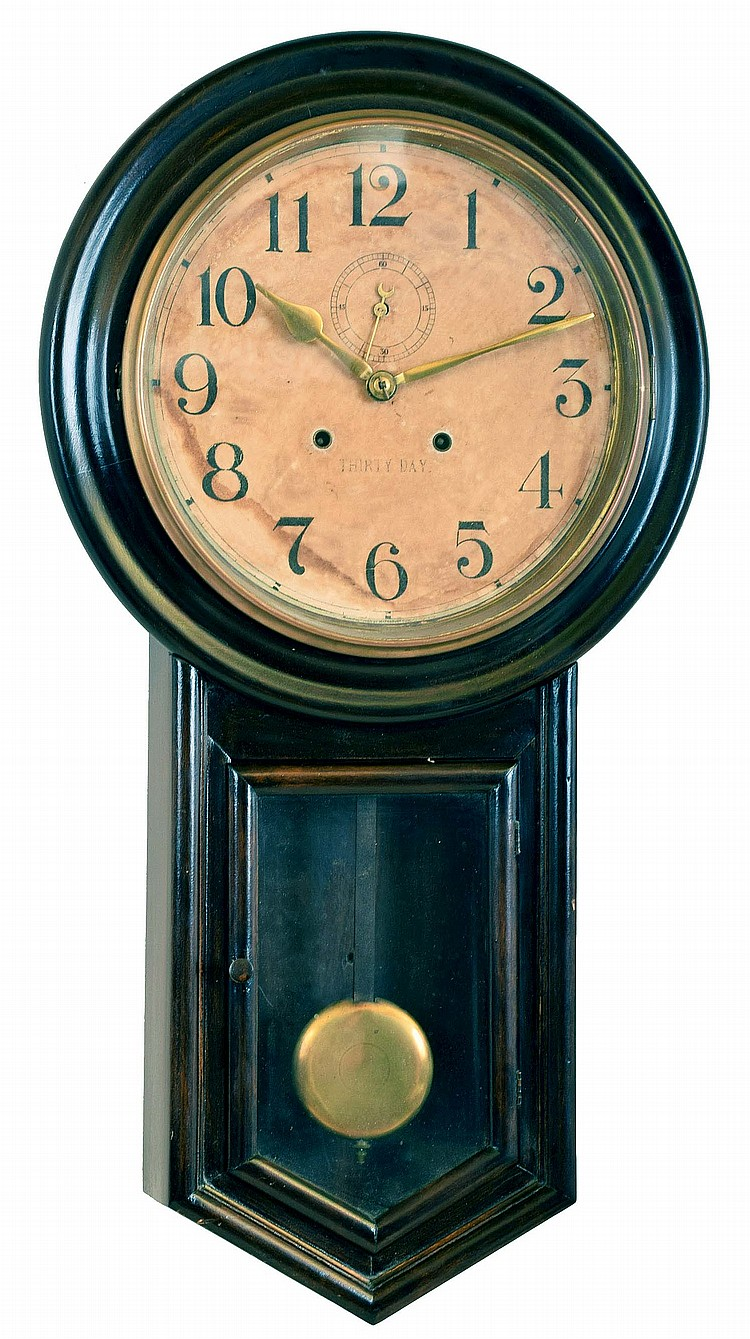 Clocks- 2 (Two): (1) Anglo American wall clock with an 8 day time & strike spring driven movement in a wooden case with marquetry design, c1885; (2) Waterbury Clock Co., Waterbury, CT
