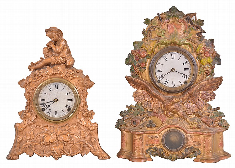 Clocks- 2 (Two): (1) Bristol Brass and Clock Co., New York, 8 day, time and strike spring brass movement cast spelter front shelf clock. Case No. 54