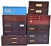 Watch parts, 8 metal drawer units of mainsprings, hands, jewels, arbors, screws, staffs, stems, and crowns. Companies include Marshall, Elgin, Bestfit, Sandsteel, etc.