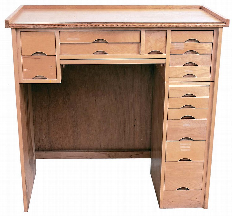 Watchmaker's Bench, Moderna, Inc., USA, BN225D modern hardwood veneer multi- drawer bench