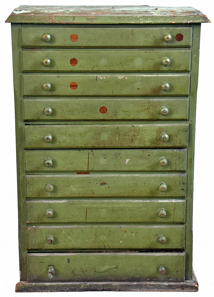Watch crystals, glass, for pocket watches, in antique 10- drawer painted oak cabinet with hundreds of organized sizes