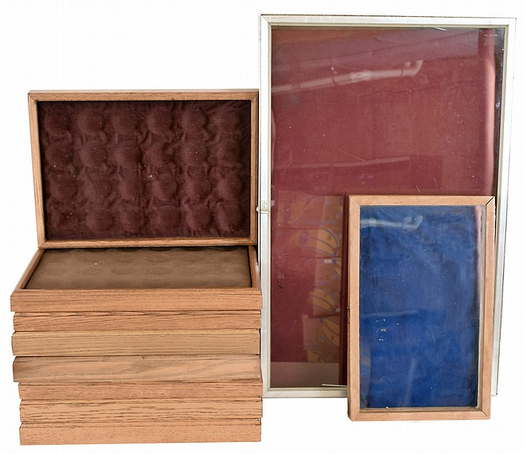 Watch display trays, 8 oak with no lids for 24 pocket watches each, 1 large aluminum with hinged lucite cover, 1 smaller oak with hinged glass cover, modern