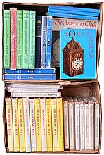 Books- 40 (Forty) Classic out- of- print hardcover clock reference books, two boxloads for dealer resale: 10 Distin & Bishop
