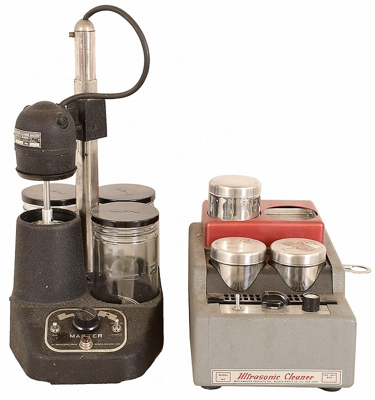 Watch Cleaning Machines, two: L&R; Master 3- jar spinner, Watchmaster Model WT ultrasonic, 20th century