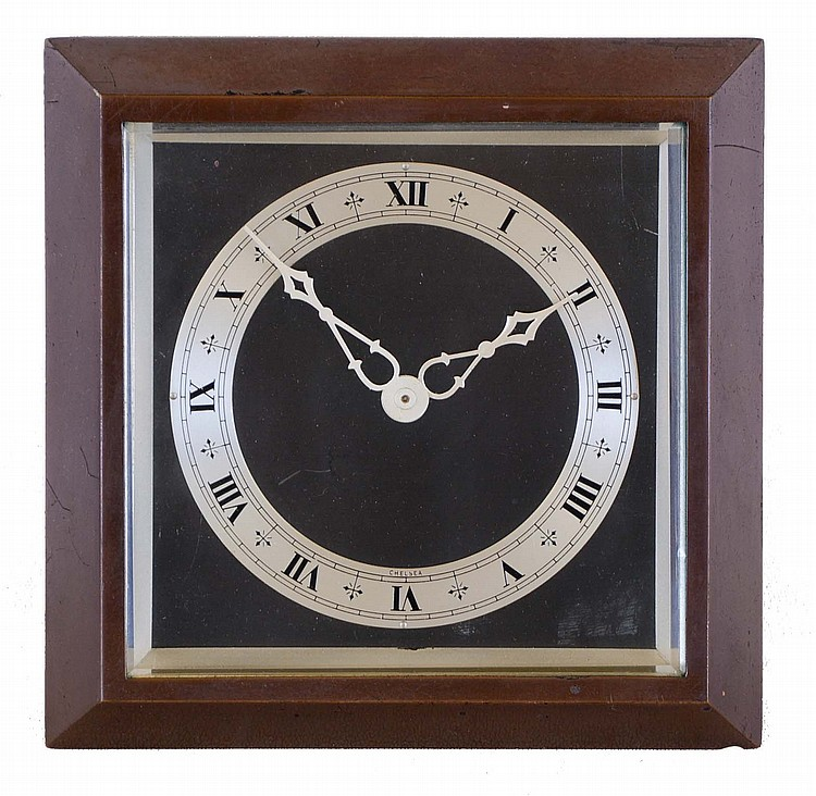 Chelsea Clock Co., Boston, Mass., desk clock with easel back, square patinated bronze case with silvered Roman numeral chapter ring, silvered hands, and 8 day timepiece movement, serial #599815