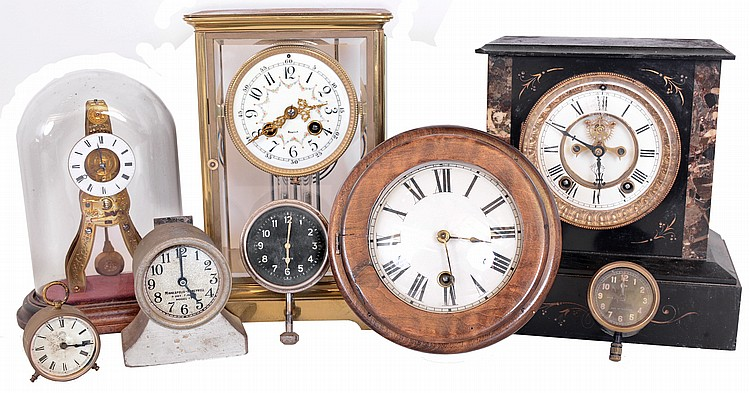 Clocks- 29 (Twenty- nine) American and European including three crystal regulators, several Ansonia, modern reproductions, car clocks, electric clocks, steeple clock, cottage clocks, etc