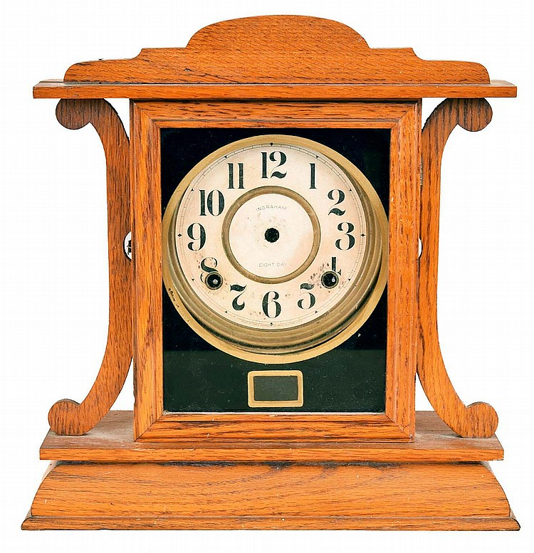 Clocks- 3 (Three): (1) William L. Gilbert Clock Co., Winsted, Conn., OG shelf clock with a 30 hour weight driven time and strike movement in a mahogany case. c1870 (2) Ingraham Clock Co., Bristol, Conn.