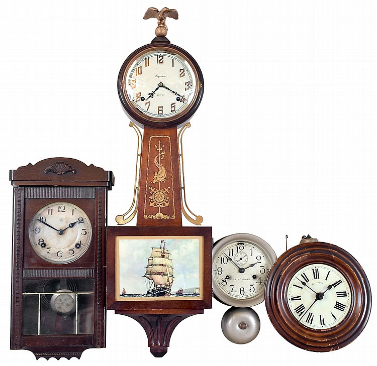 Clocks- 4 (Four) hanging wall clocks: Ingraham