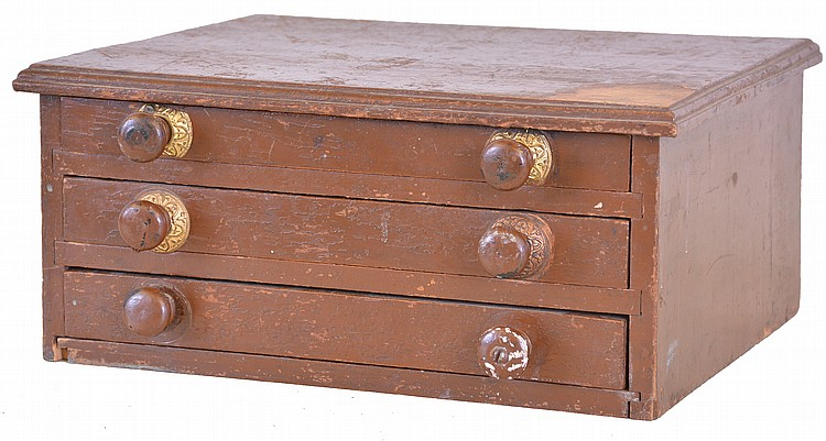 Three drawer storage cabinet with movement parts, Swiss and English, many for fusee watches