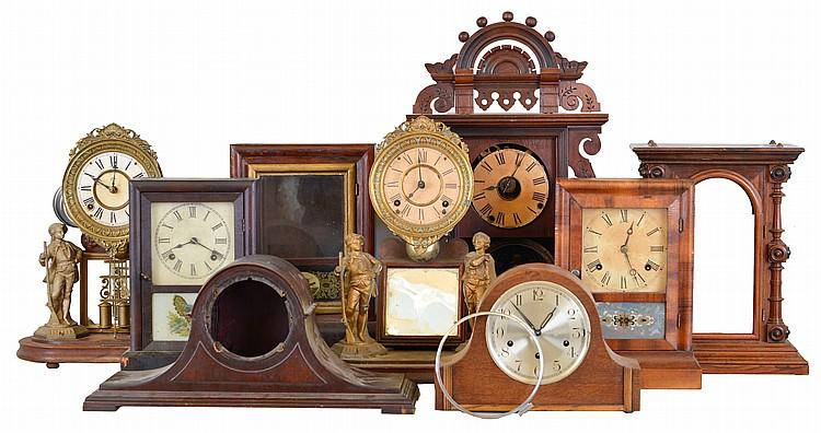 Clocks- 9 (Nine): (1) Seth Thomas Clock Co., Thomaston, Conn., Cottage clock case, c1890 (2) Seth Thomas Clock Co. Thomaston, Conn.,