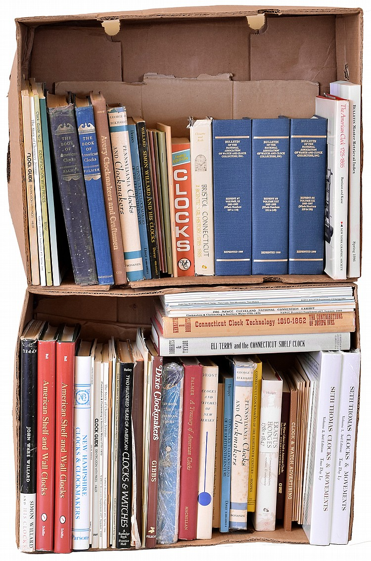 Books- more than 60 (Sixty) classic and out- of- print references on American clocks, a few multiple copies, authors include: Miller, Palmer, Avery, Eckhardt, Hoopes, Willard, Battison & Kane, Roberts, Taylor, Ball, Parsons, Bailey, Ly, Gibbs, Drost,