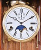 Klinenger, Germany, 8 day, time, strike and Westminster chime on bells wall clock with moon phase dial.