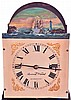 Dwarf tall clock, older reproduction, signed David Wood, Newburyport, Mass., 8 day, time only, weight driven movement in a Roxbury style banded mahogany case with painted metal dial with rocking ship.