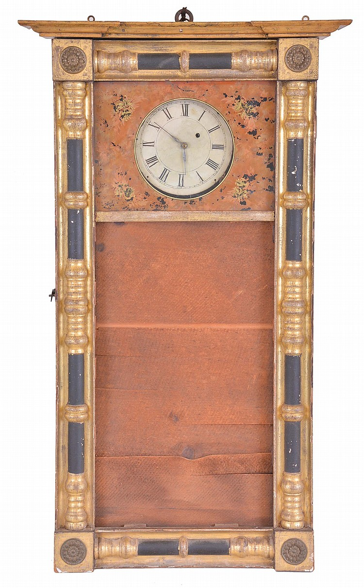 Samuel Abbott, Boston, Mass., 8 day, weight brass movement New Hampshire style wall timepiece.