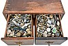 Two drawer wooden cabinet with over 1000 wristwatches, some complete