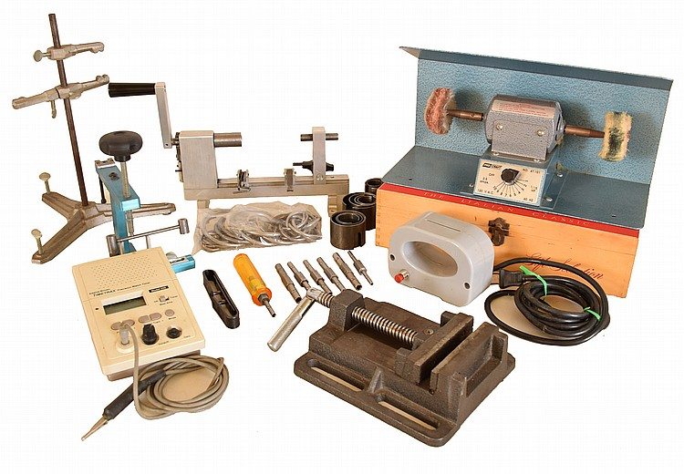 Tools- Clockmaker's including Ollie Baker mainspring winder with sleeves, Timetrax precision watch timer, movement test stand, arbor straightener / lantern pinion puller, Procraft demagnetizer Procraft buffing wheel with accessories, Bergeon