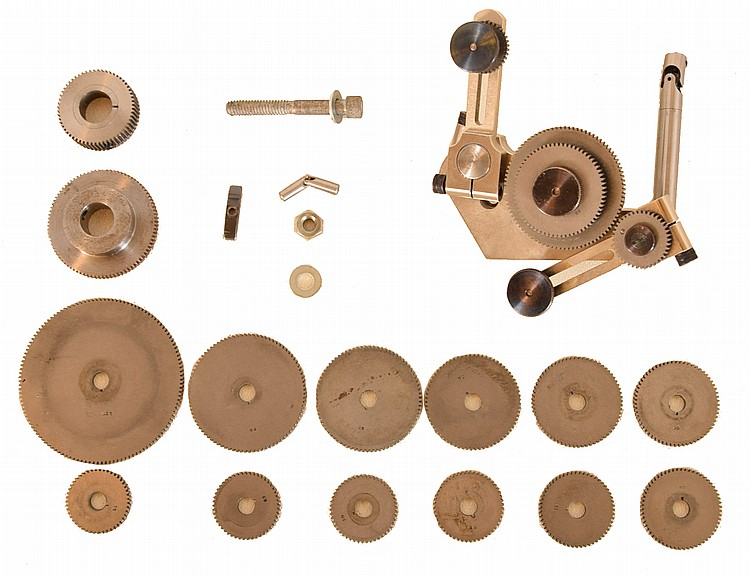 Thread cutting attachment for watchmaker's lathe including 16 change gears for different thread per inch counts
