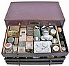 Large lot of pocket and wrist watch movements and parts, many American, including Waltham, Elgin, Columbus, Seth Thomas, Rockford, and Hamilton, contained in 2 two drawer steel cabinets