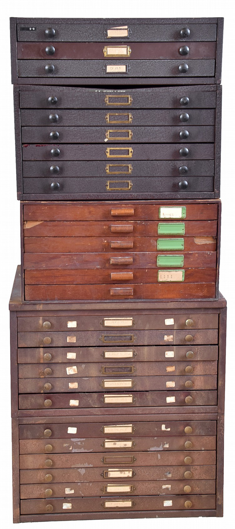 Watch crystals, 27 drawers in 5 old cabinets (four metal, one wood), new / old smaller glass crystals organized with original individual factory stickers, also some packaged wristwatch parts including staffs and stems
