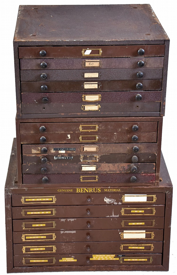 Watch crystals and hands, 18 drawers in 3 metal cabinets, crystals are new / old glass stock with original stickers