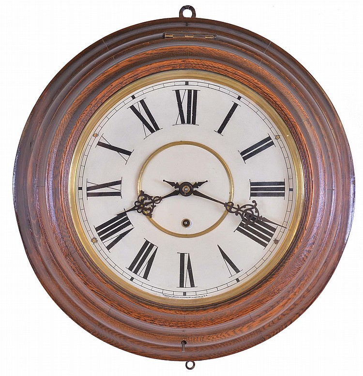 Waterbury Clock Co., Waterbury, Conn., 8 day, spring brass movement gallery timepiece.