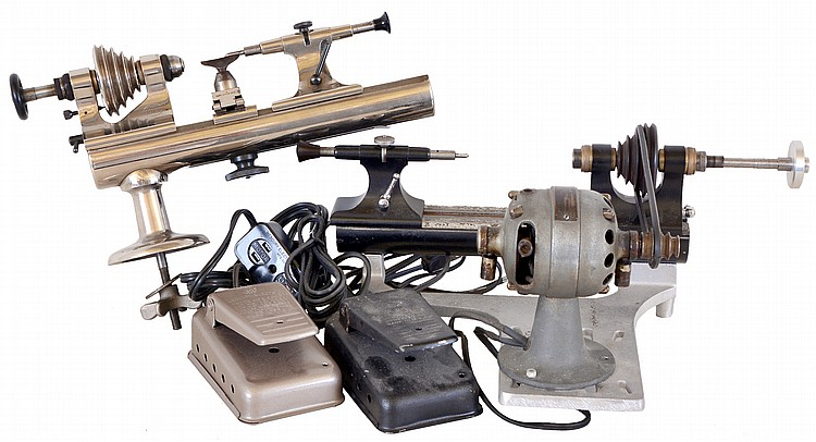 Watchmakers lathes- 2 (Two) The first a Boley 8mm with plain bearing headstock, plain tailstock, and tip over tool rest, with variable speed foot control, the other a Swartchild, with plain bearing headstock, plain tailstock, Borel base, and motor