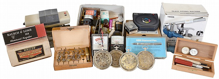 Watchmakers tools, including Favorite watch mainspring winder, Waller carbide graver set, Seiko Kinetic energy supply, Ceres diamond tester, Vibrograf M80 watch timer, Timetrax model 185 clock timer and amplifier, six small amplifiers, Vigor crystal