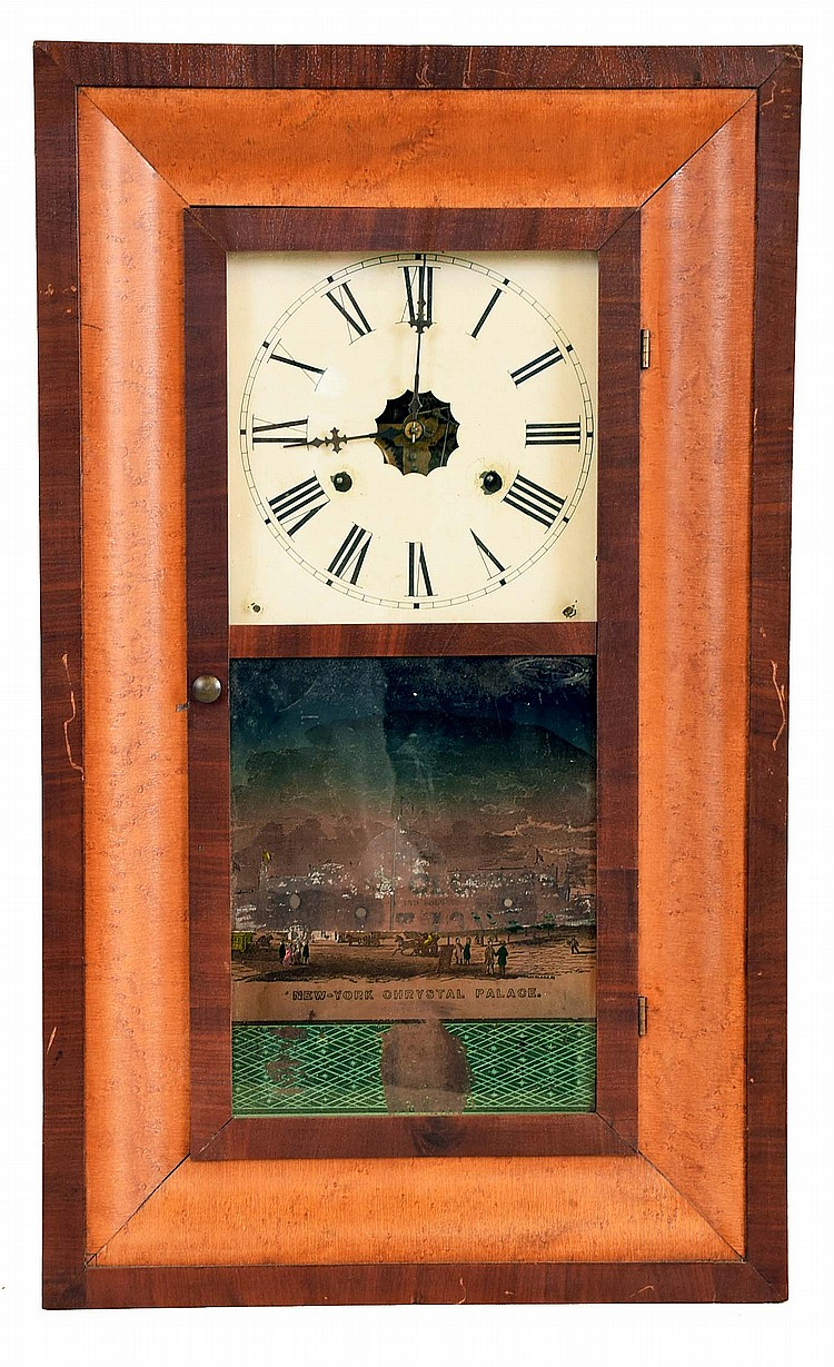 Clocks- 6 (Six): (1) Sperry & Shaw, 10 Cortlandt St., New York, OG shelf clock with an 8 day weight driven time and strike brass movement, c1848. (2) Ansonia Clock Co., Ansonia. Conn., OG shelf clock with a 30 hour weight driven time and strike brass