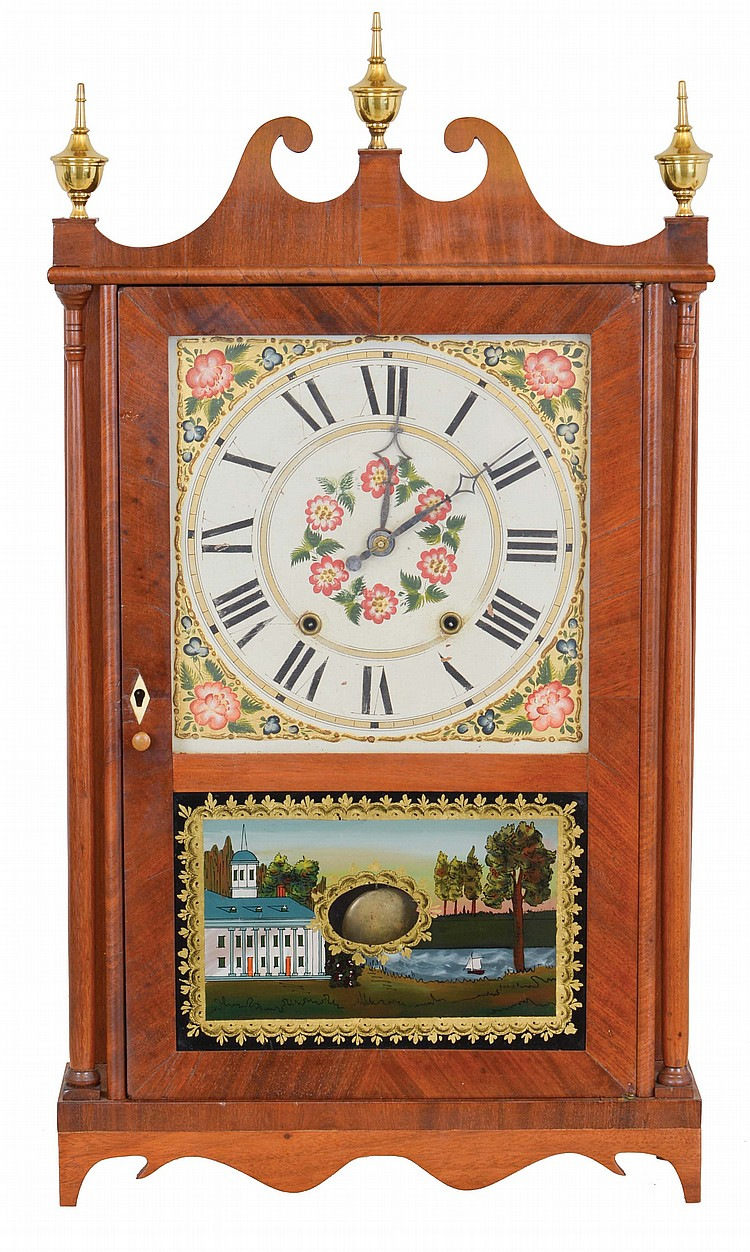 Riley Whiting, Winchester, Conn., 30 hour, time and strike weight wood movement pillar & scroll shelf clock.