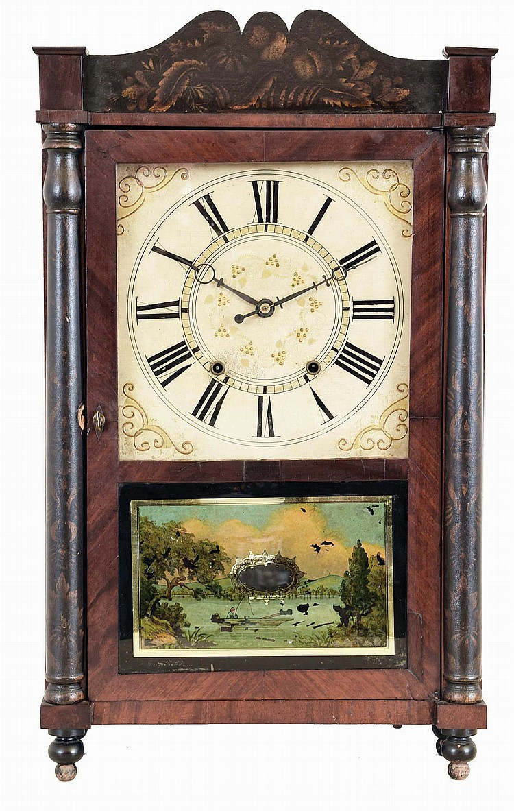Samuel Terry, Bristol. Conn., Mahogany veneered short style shelf clock with stenciled half column and splat and turned feet. Weight driven 30 hour time and strike wood works movement.