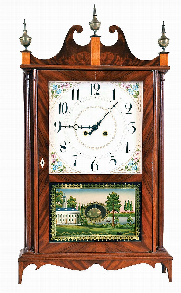 Robert B. Materne, Bristol, RI, 8 day, time and strike spring brass movement copy of an Eli Terry Pillar & Scroll shelf clock. Clock is numbered 163. Mr. Materne has been making fine reproduction clocks including this model for years. He now lives in
