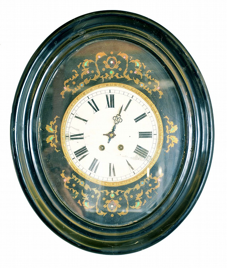 Clocks- 6 (Six) wall hanging: (1) Time only Vienna regulator in walnut case, c1890; (2) German chiming spring driven box clock, c1960; (3) partial German time and strike spring driven, c1900; (4) French baker's clock, c1890; (5) German time and