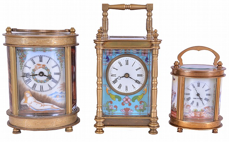 Carriage clocks- 3 (Three), made in China, all with brass cases set with enamel decorated panels, 8 day time only movements, late 20th century