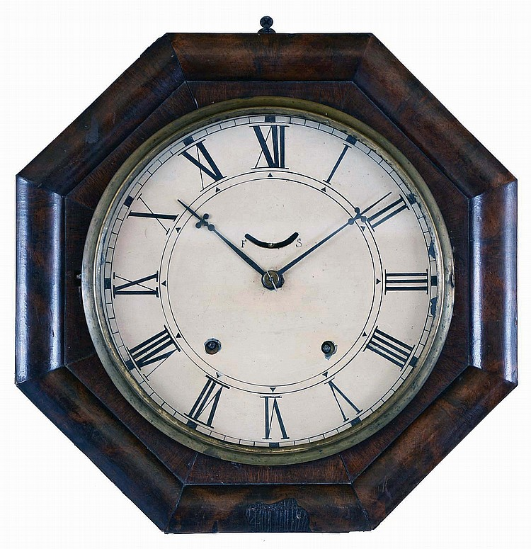 William L. Gilbert Clock Co., Winsted, Conn., 8 day, spring brass lever movement marine wall timepiece.
