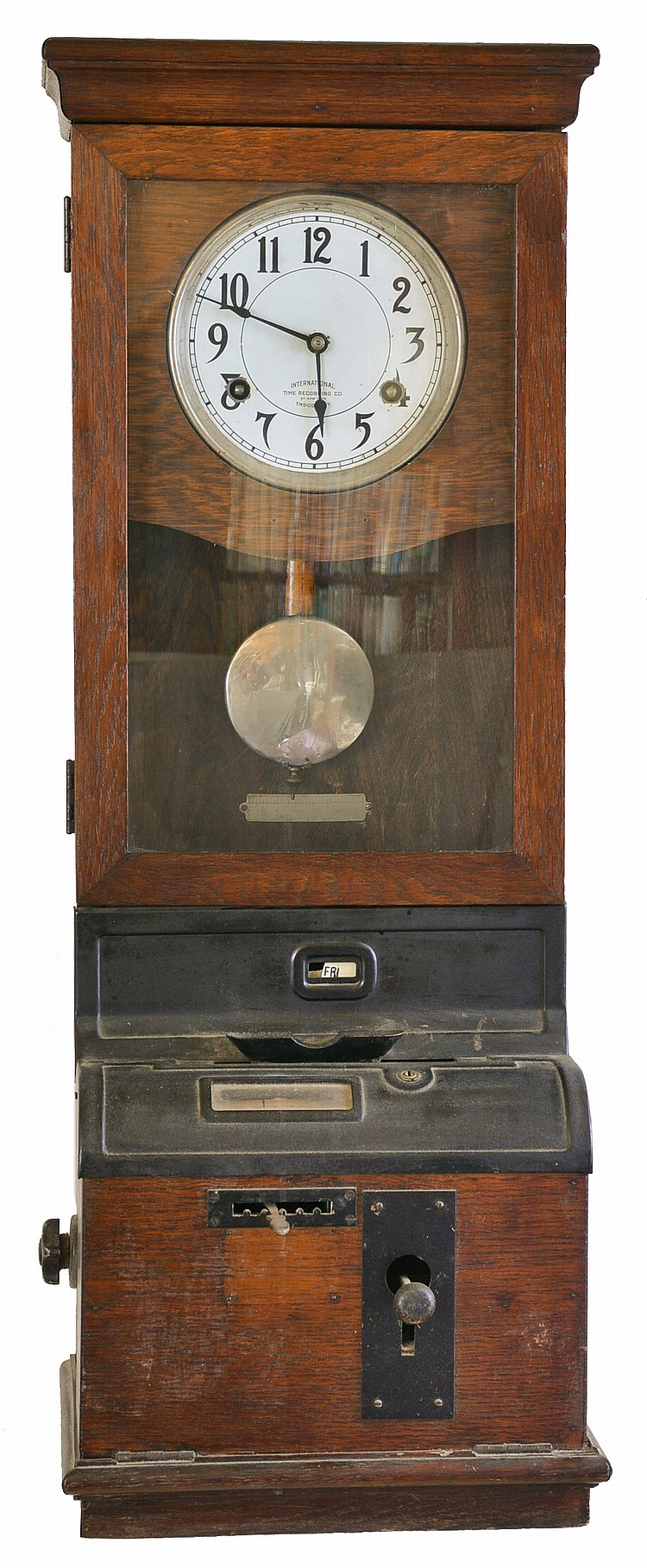 Clocks- 2 (Two) International Time Recording Co., Endicott, New York punch clocks in oak cases