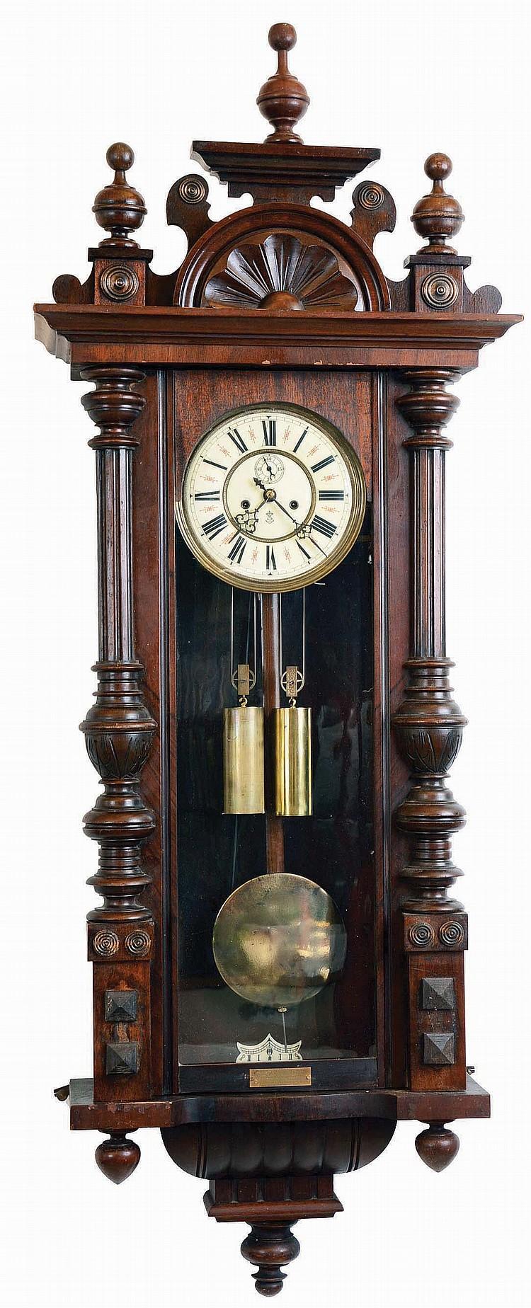 Clocks- 2 (Two) Vienna Regulator 2 Weight German Walnut Wall: Thomas Haller #11102 with multi- color dial; Gustav Becker #1882976, 1908 presentation plate