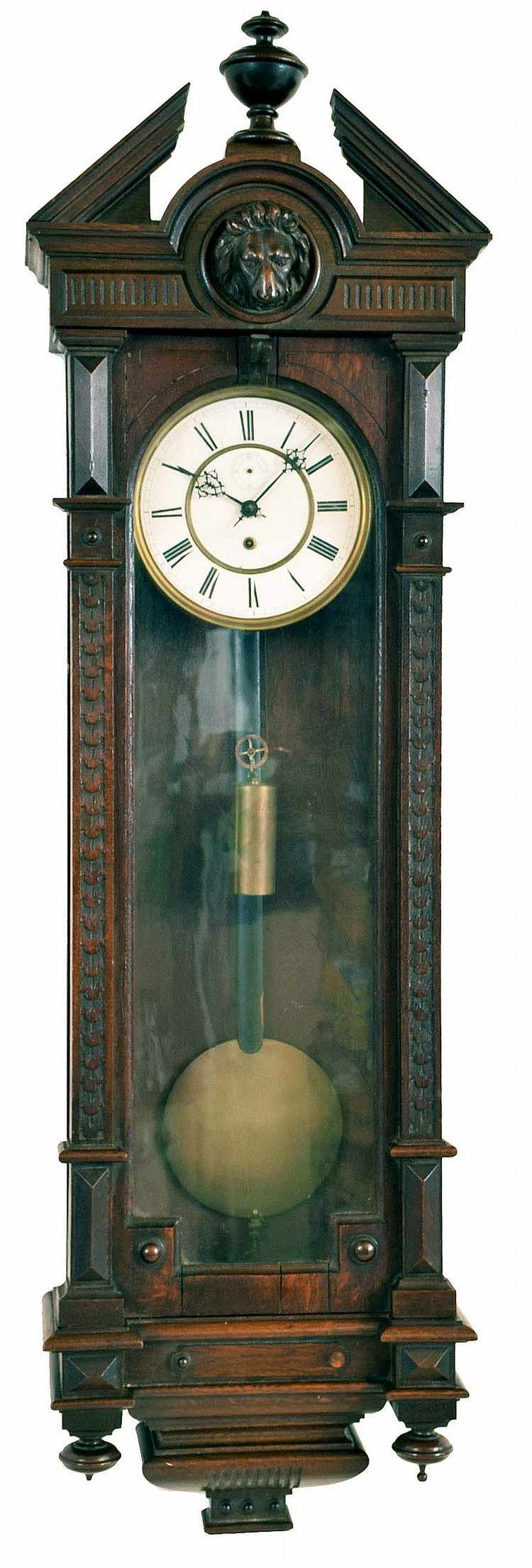 Clocks- 2 (Two) Vienna regulator 8 day wall clocks; unsigned antique oak one weight time only ; Hermle modern quarter- chime (not Westminster) with weight- driven time train, spring- driven strike and chime trains