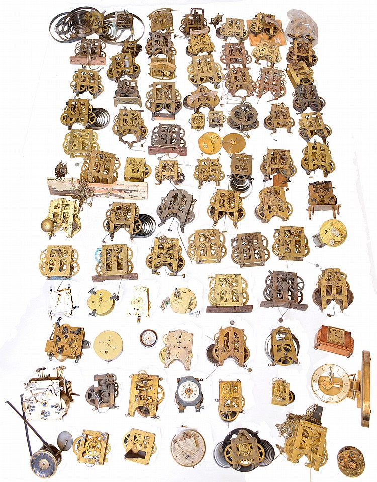 Clock Movements- over 80 (Eighty) vintage mostly American with a few European; including Seth Thomas, Waterbury tall clock, Gilbert, 8 day, round French, Vermont Clock Co., L. Hubbell marine, etc