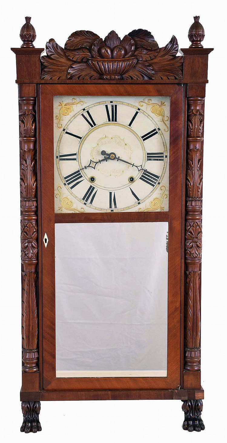 Ephraim Downs, Bristol, Conn. Tall Empire shelf clock with mahogany case and fully carved half columns, splat, pineapple finials and paw feet with a 30 hour weight driven time and strike wood movement,