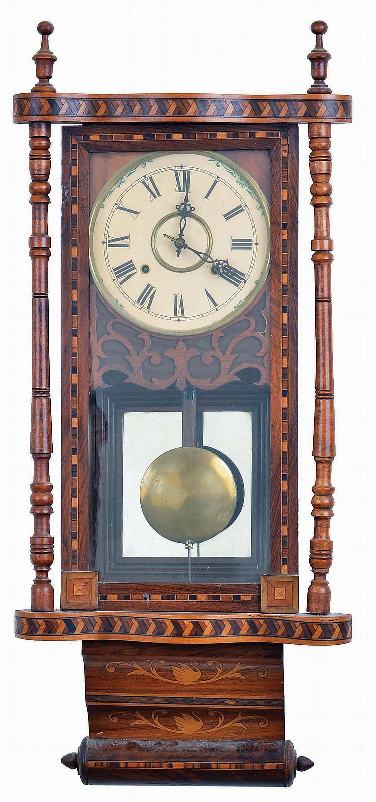 English, Anglo-American, 8 day, time and strike spring brass movement inlayed wall clock.